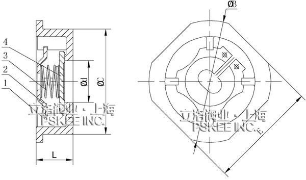 对夹升降式止回阀结构图