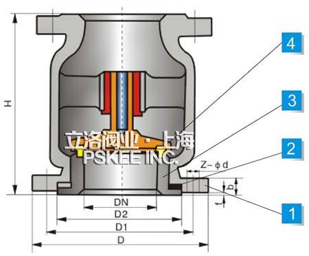不锈钢立式止回阀结构图