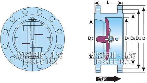 对夹式法兰双瓣止回阀结构图