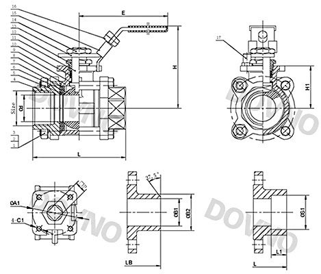 不锈钢三片式焊接球阀结构图